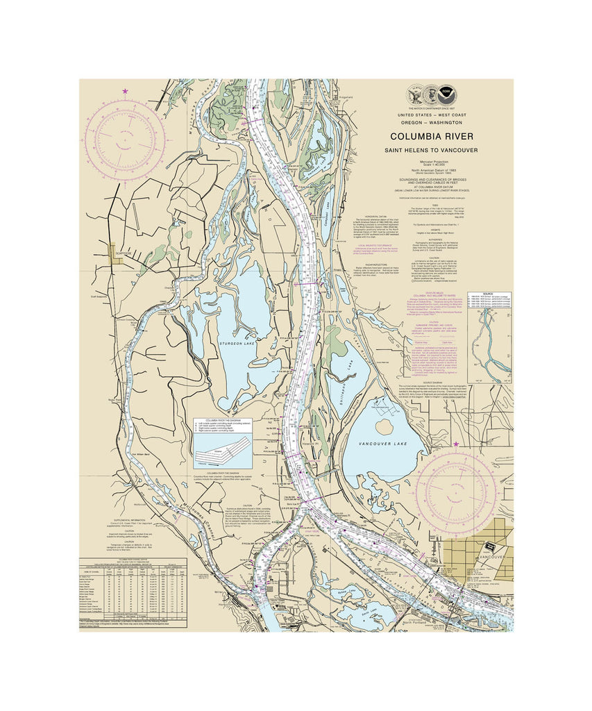 Columbia River, Saint Helens to Vancouver Nautical Chart Vinyl Print
