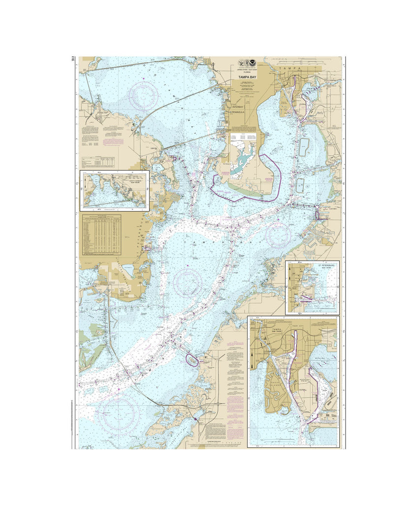 Tampa Bay, St. Petersburg Nautical Chart Sailcloth Print