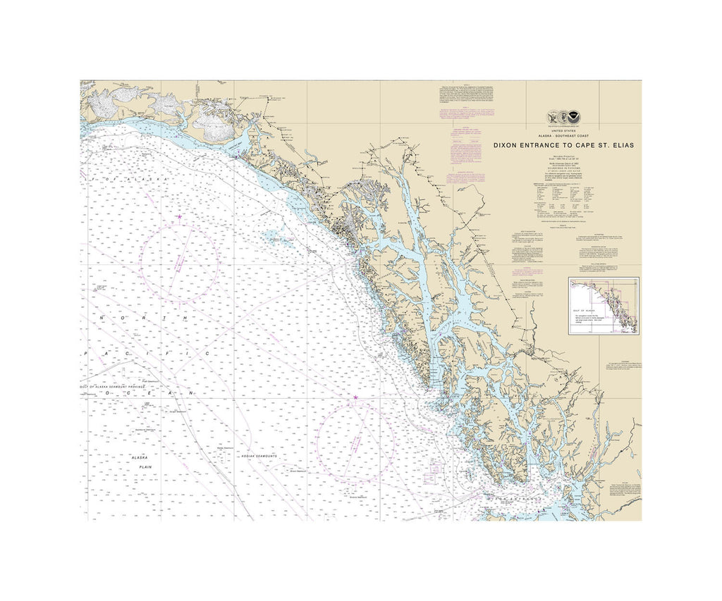 Dixon Entrance to Cape St. Elias, Alaska Nautical Chart Vinyl Print