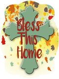 Cross On Fall Leaves Background Door Hanger