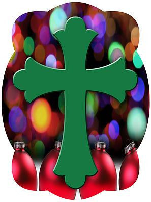 Cross On Christmas Lights Background Door Hanger