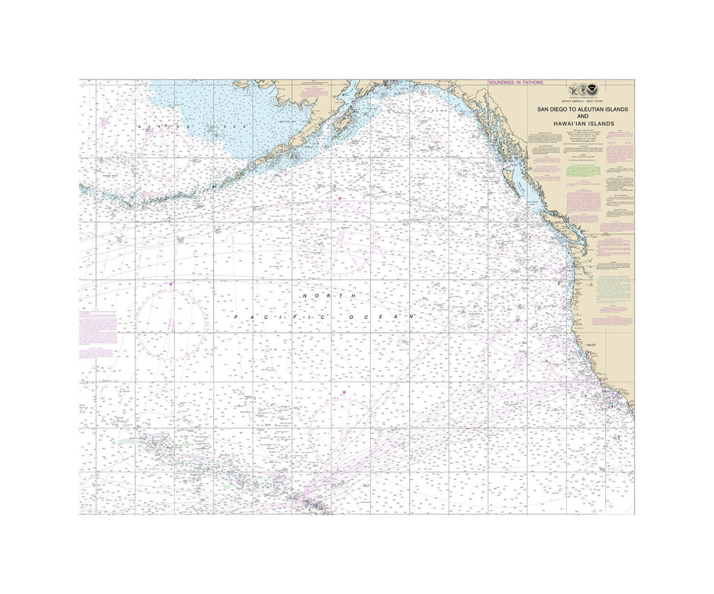 San Diego Aleutian Islands Nautical Chart Sailcloth Print