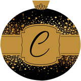 Black & Gold Christmas Ornament Initial Door Hanger