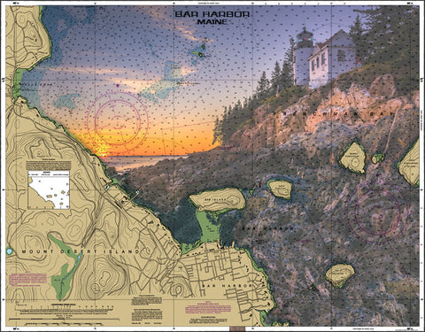 Mount Desert Acadia National Park, Bar Harbor Maine Nautical Chart Vinyl Print