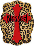 Cross On Leopard Print Background Door Hanger