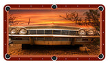 Antique Car In The Sunset Billiards Cloth