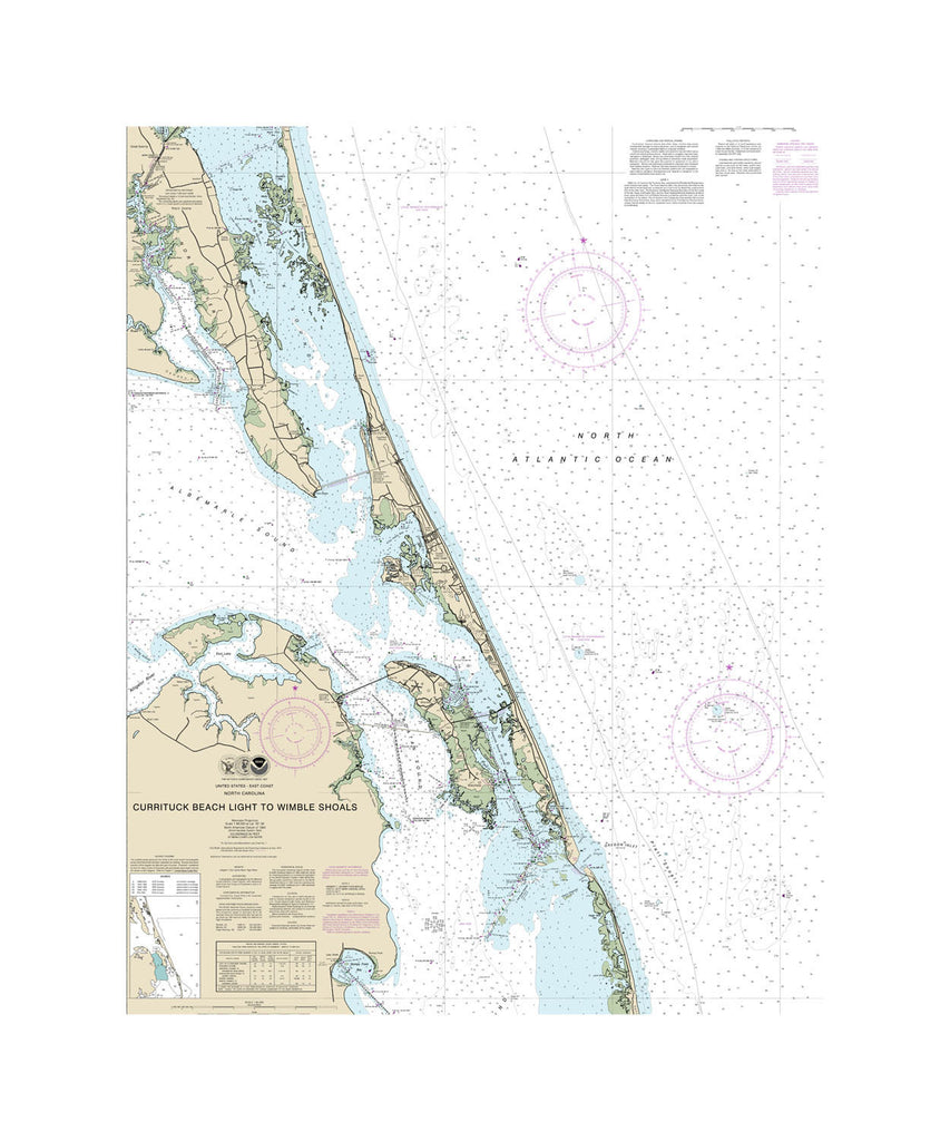 Carrituck Beach Light to Wimble Shoals Nautical Chart Vinyl Print