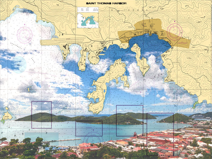 St. Thomas Harbor - Landscape Nautical Chart Sailcloth Print