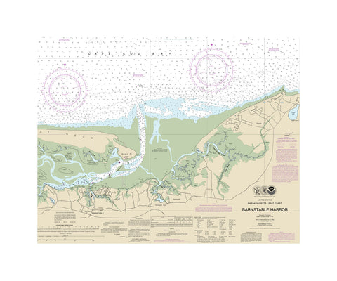 Barnstable Harbor Nautical Chart Sailcloth Print