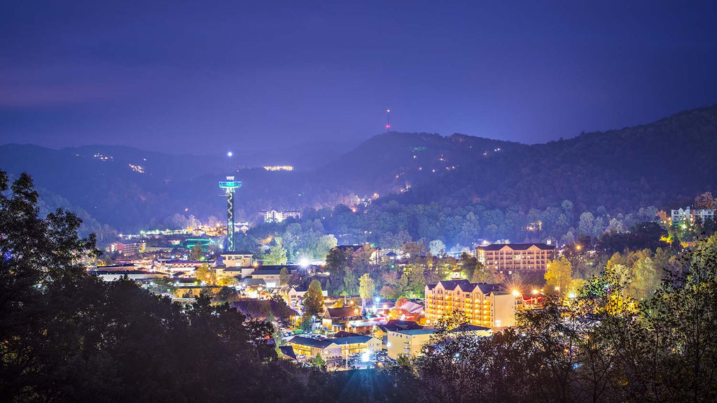 Nighttime View of Gatlinburg, TN Vinyl Print