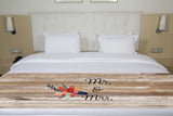 Rustic Wood Mr & Mrs Floral Bed Runner