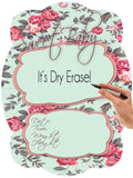 Roses Newborn Baby Hospital Birth Announcement Dry Erase Sign or Door Hanger