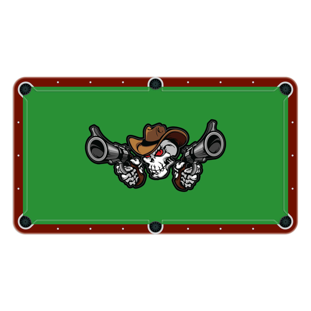 Cowboy Skull Shooting Pistols High School College Team Mascot Billiards Cloth