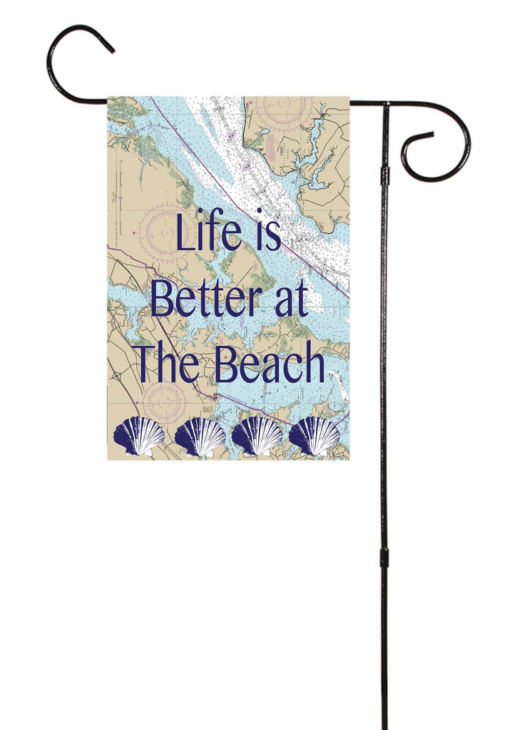 Life Is Better At The Beach Nautical Garden Flag