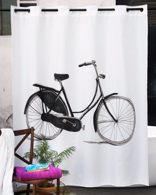 Hookless shower curtain with bicycle print, made in Spain
