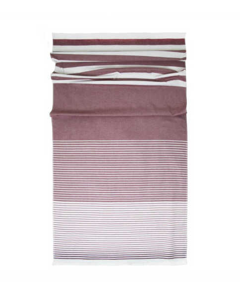 Multipurpose towel with fringes, terry on reverse, made in Portugal - Shopping Blue