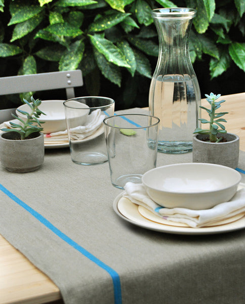 Table runner pure linen, made in France - Shopping Blue