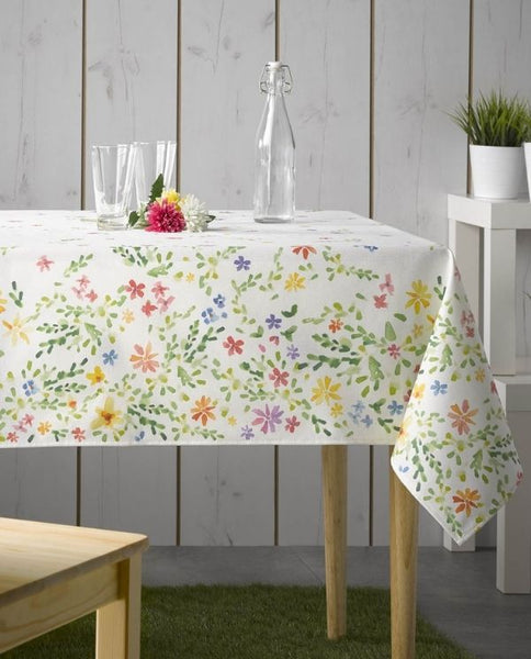 Stain resistant cotton tablecloth with floral print, made in Spain - Shopping Blue