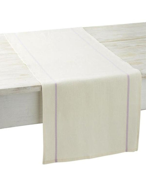 White linen table runner with lilac stripe, made in France