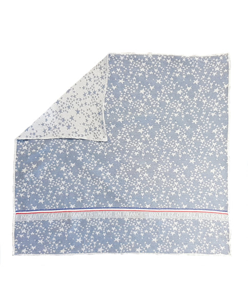 Reusable gift wrap from recycled cotton, star pattern, made in France - Shopping Blue