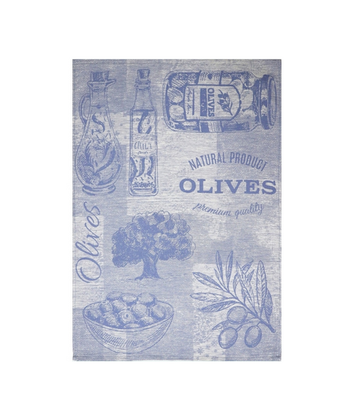 Cotton linen tea towel with olives, made in Portugal - Shopping Blue