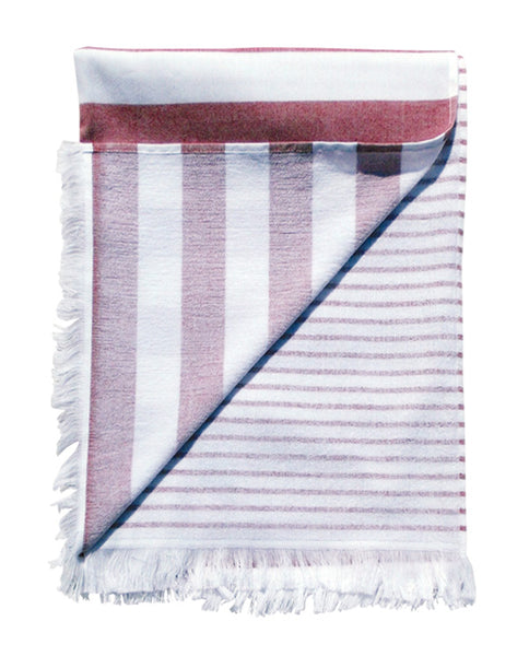 Peshtemal towel with fringes, terry on reverse, made in Portugal - Shopping Blue