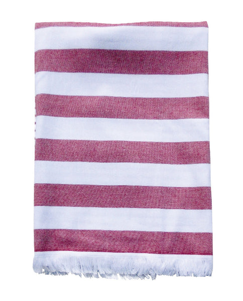 Striped peshtemal towel with terry on reverse, made in Portugal