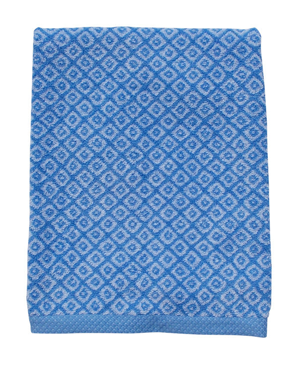 Mini diamond pattern hand and bath towel set, blue, made in Portugal - Shopping Blue