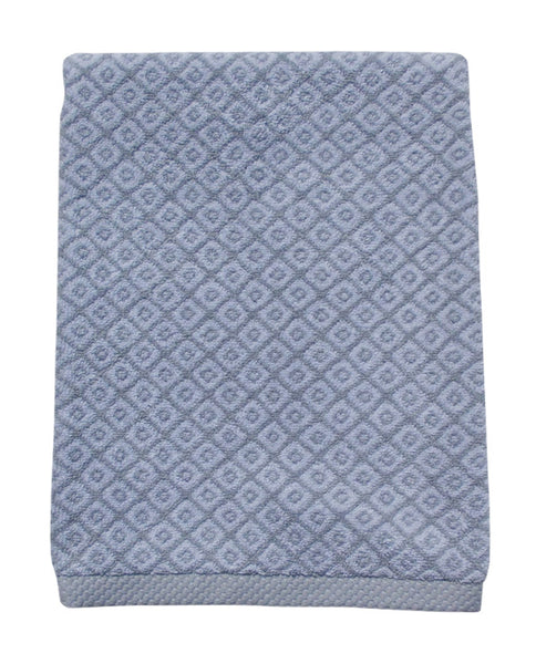 Mini diamond pattern cotton terry towel, gray