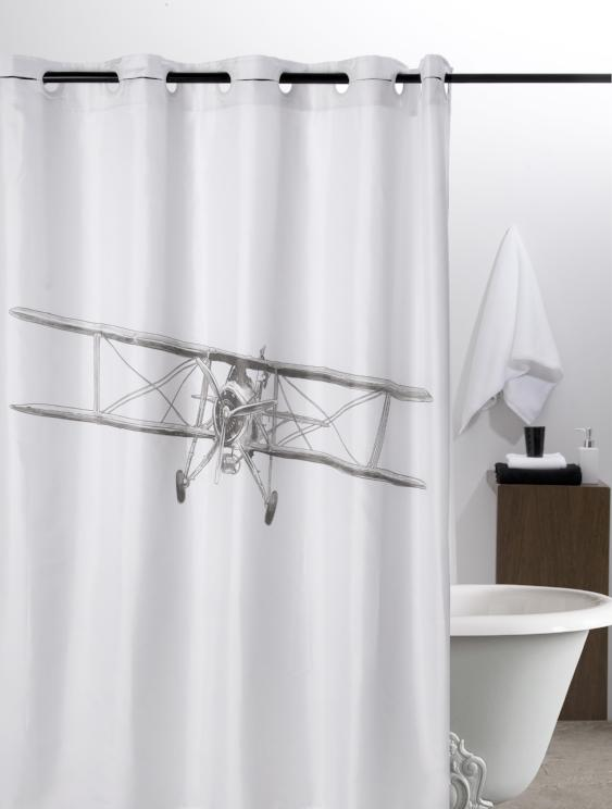 Hookless shower curtain with retro plane print, made in Spain