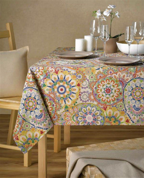 Stain repellent linen tablecloth with festive motifs, made in Spain