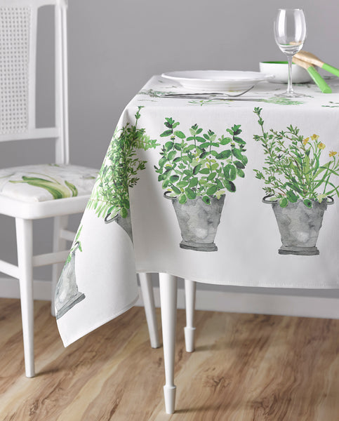 Stain resistant cotton tablecloth with green herbs, made in Spain - Shopping Blue