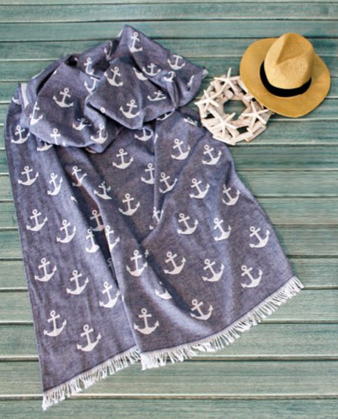 Peshtemal towel with anchor pattern, cotton, made in Turkey - Shopping Blue