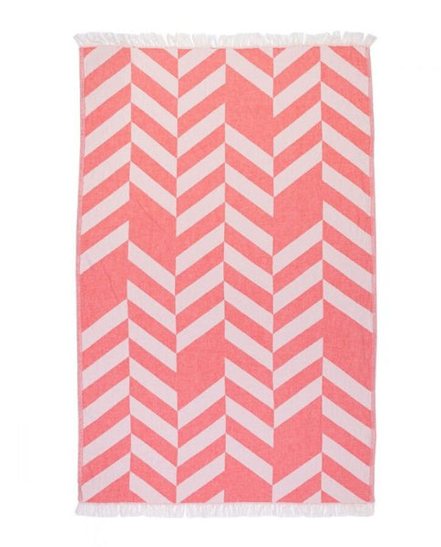 Peshtemal towel with chevron pattern, cotton, made in Turkey - Shopping Blue