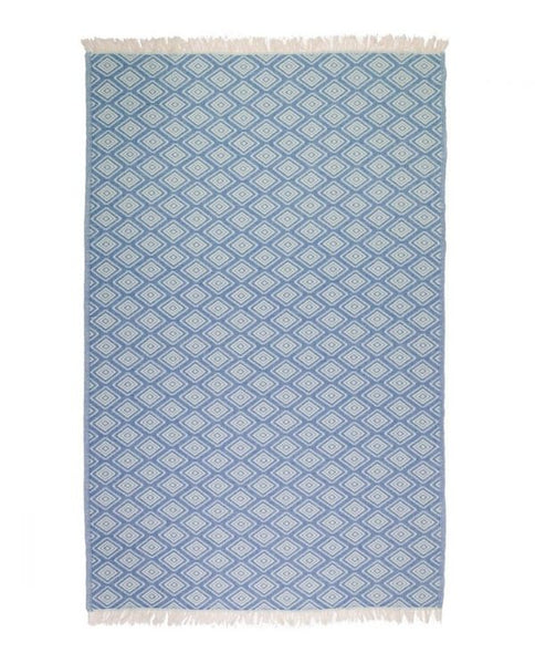Peshtemal towel with diamond pattern, cotton, made in Turkey - Shopping Blue