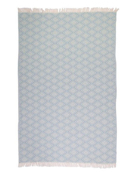 Peshtemal Turkish towel with diamond pattern, cotton - Shopping Blue