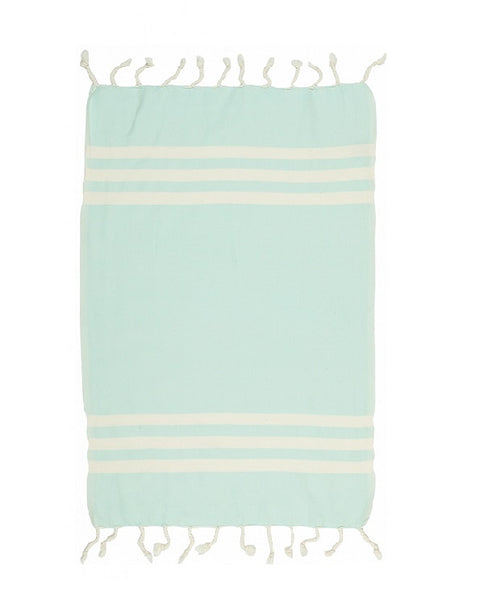 Artisan Turkish towel with fringes, cotton - Shopping Blue