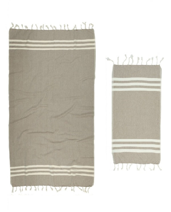 Hand and bath artisan towel set, neutral beige, made in Turkey - Shopping Blue