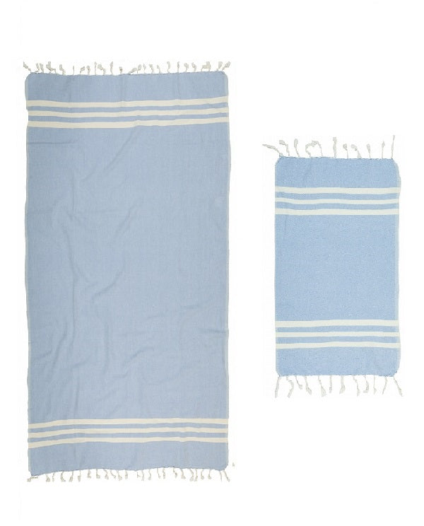 Turkish artisan towel set in sky blue