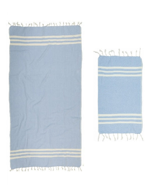 Hand and bath artisan towel set, sky blue, made in Turkey - Shopping Blue