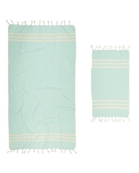 Hand and bath artisan towel set, mint green, made in Turkey - Shopping Blue