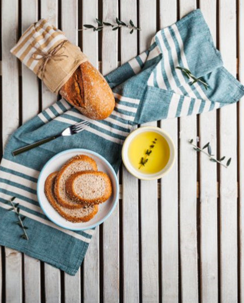 Cotton striped tea towel, set of 2, made in Turkey