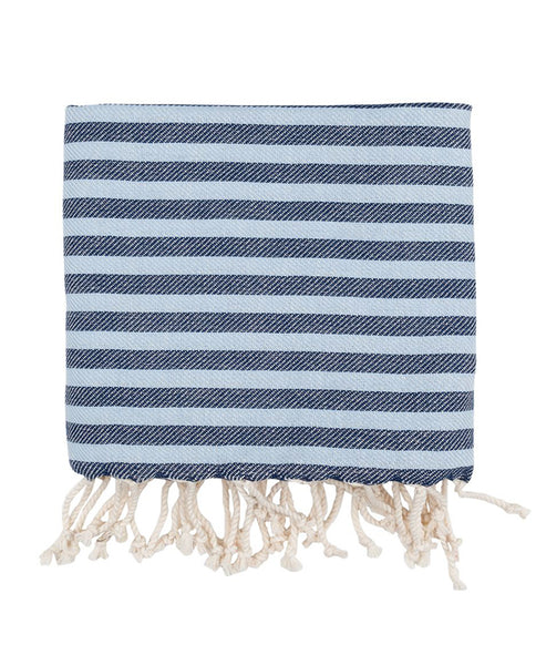Peshtemal herringbone towel, cotton, made in Turkey - Shopping Blue