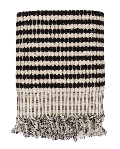 Handloomed artisan towel, black and white