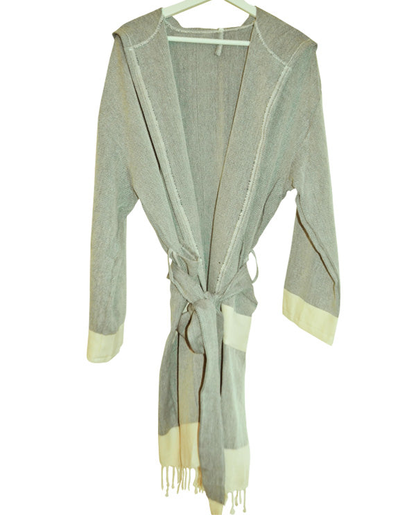 Hooded cotton bathrobe with fringes, made in Turkey
