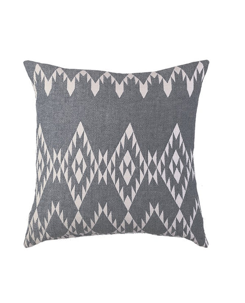 Throw & cushion cover with kilim pattern, cotton, made in Turkey - Shopping Blue