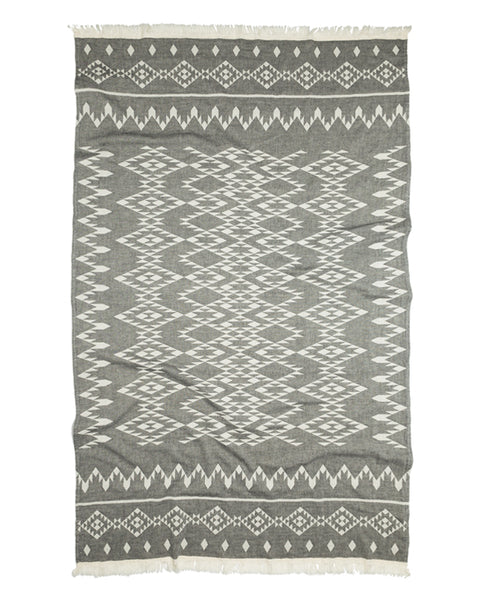 Turkish peshtemal towel with kilim pattern, gray/white