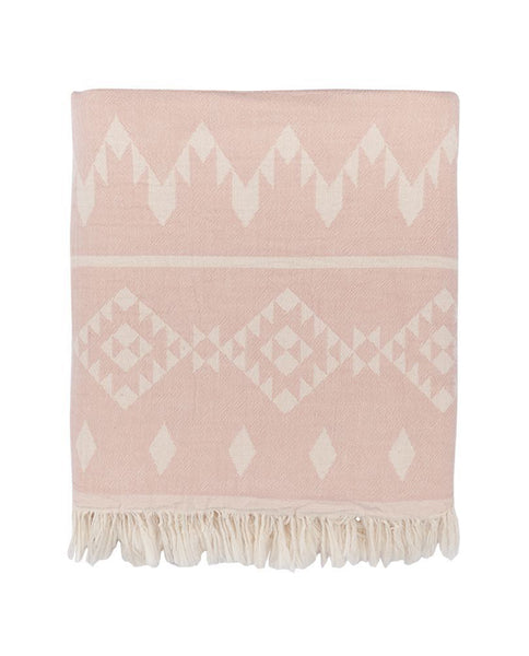 Cotton throw with kilim pattern, pale rose/white