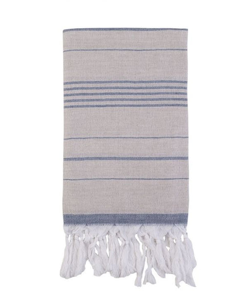 Artisan Turkish towel with fringes, cotton & linen - Shopping Blue