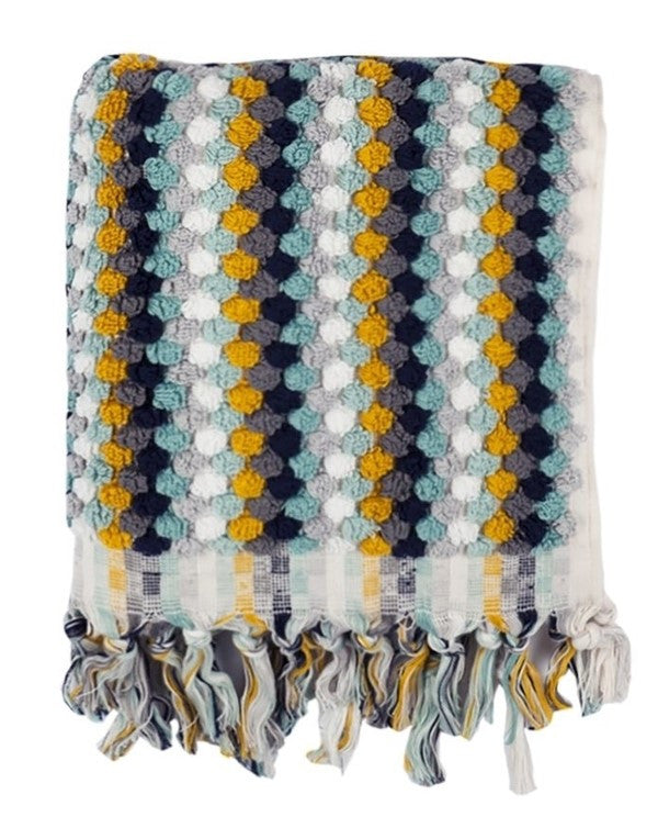 Hand loomed artisan terry towel, made in Turkey - Shopping Blue